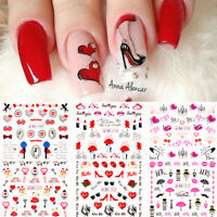 Nail Art Water Decals Valentine's Series Transfer Stickers Wraps Tips Decoration