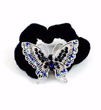 USA Butterfly Ponytail holder Elastic Rhinestone Crystal Hair Tie Rope Blue 04