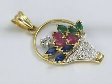 Diamond Ruby Emerald Sapphire Bouquet 14k Gold Pendant