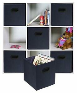 6 PCS Foldable Fabric Storage Bins Set of 6 Cubby Cubes with Handles Navy