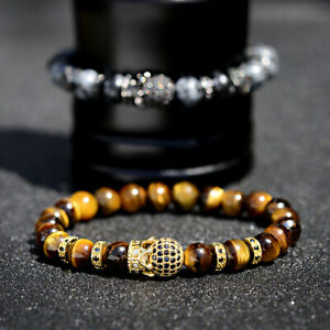 2019 Luxury Men's Micro Pave CZ Ball Crown Charm Tiger Eye & Snow Flake Bracelet