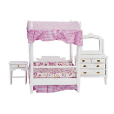 1:12 Dollhouse Miniature Bedroom Furniture Canopy Bed Dresser 3PCS WB002  Gift