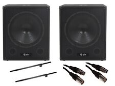 "QTX QT18SA 18"" 2000W Active Powered Subwoofer Bass Bin Speaker DJ Disco Package"