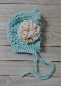 crochet hat Flower bonnet preemie Newborn  baby girls blue white handmade new