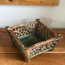 Antique Weller Signed Rare Brown & Green Glazed Faux Wood Twig Square Basket