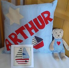Any Name Boys Personalised Cushion Card Teddy Gift Christening Baby Present