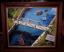 """Old Oil Painting Land & Water Nautical Signed M Tuch 1967 Rockport Maine 20""""x24"""""""