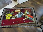 VNTAGE DOGS PLAYING BILLIARDS POOL TAPESTRY WALL HANGING CARPET RUG w/tag Turkey