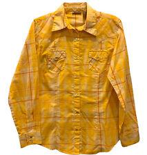 Wrangler Womens Snapfront Shirt Medium Long Sleeve Yellow Plaid Western