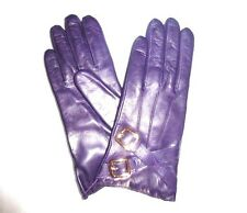 $128 COACH Women's Cashmere Lined Leather size 8 grape gloves 82055 NWT new