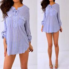 TALBOTS Blue White Striped Cotton 3/4 Roll Tab Sleeve Blouse Shirt Top XL Petite