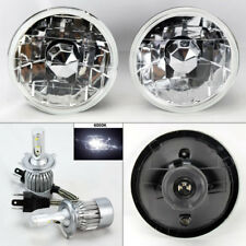 "5.75"" 5 3/4 Round Clear Glass Headlight Conversion w/ 6K 36W LED H4 Bulbs Chevy"