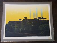 "Hand signed, titled ELTON BENNETT (1910-1974) seriagraph ""The Watchers"" 18x 24"