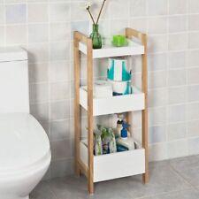 SoBuy® Badregal,Standregal Küchenregal mit 3 Ablagefächern,weiß/Bambus,FRG226-WN