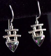 Sajen Mystic Topaz Dangle Wire Earrings Sterling Silver .925