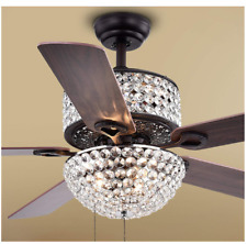 "42"" Crystal Ceiling Fans with Light LED Dimmable Chandelier Wooden Blades"