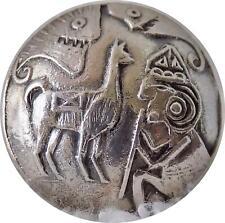 "NICE Peruvian 900 Silver Picture Button Inca Llama Sacrifice to Gods 13/16"""