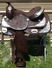"15"" Royal King Western show saddle tooled dark oil leather w/silver"