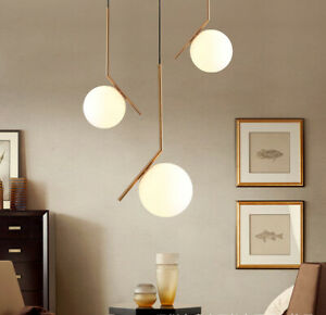 Modern Minimal Brass Metal Linear with One Glass Globe Ceiling Pendant Lights