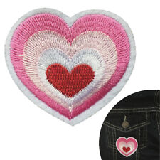 Heart iron on patch - pulsing pink love hearts embroidery lover iron-on patches
