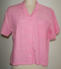 Women's L.L. Bean Size Large S/S Cropped Pink/Red Linen Button Up Blouse