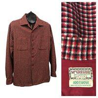 1950s Button Down Shirt / 50s Plaid Loop Collar Shirt Jacket Rockabilly S/M