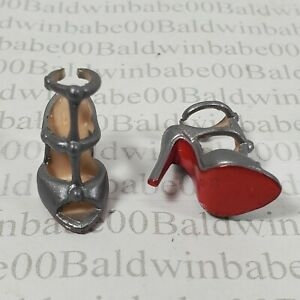 SHOES ~ (U31) BARBIE DOLL LOUBOUTIN SILVER STRAPPY SANDALS MODEL MUSE HIGH HEEL