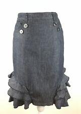 Anthropologie Pilcro and the Letterpress Denim Pencil Skirt Size 00 Ruffles