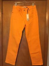 CHRISTOPHER BLUE ELECTRIC ORANGE MID-RISE SKINNY ANKLE JEAN IN 14