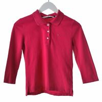TOMMY HILFIGER women's long sleeve polo t-shirt top pink size M MEDIUM Authentic