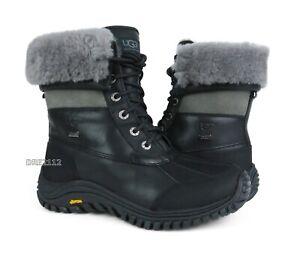 UGG Australia Adirondack II Black Grey Leather Fur Boots Womens Size 8.5 *NIB*