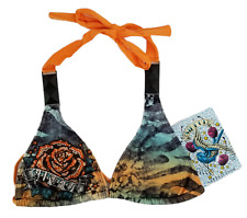Sinful By Affliction Bikini Halter Top Hydrogen Swimwear Orange Size S New