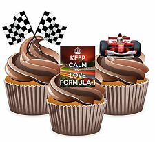 12 Formula 1 One Themed Edible Wafer Cup Cake Toppers Birthday Decorations
