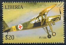 Fieseler Fi-156 Storch Stork (Air Ambulance) WWII Aircraft Stamp (Liberia)