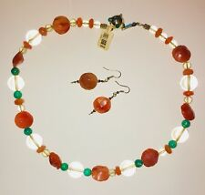 Healing Necklace & Earrings. Lemon Quartz, Carnelian, Green Jade, Emerald Silver