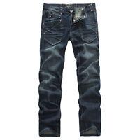 FOX JEANS Men's Carter Standar Fit Straight Blue Denim Jeans Size 32-44