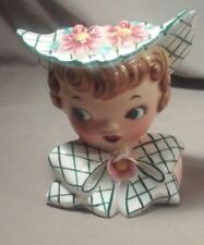 Vintage Lefton Young Lady Girl Head Vase - Plaid Bow and Hat - Flowers on Hat