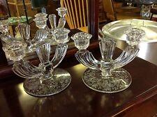 Elegant Glass Tiffin Cerice Rose Candlesticks