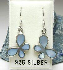 NEU 925 Silber OHRHÄNGER Perlmutt SCHMETTERLINGE in blau OHRRINGE Schmetterling