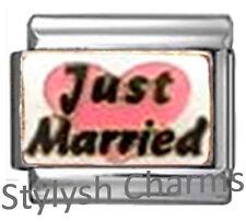 Just Married Bride Pink Love Heart Enamel Italian Charm 9mm-1x Fa049 Single Link