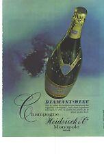 PUBLICITE  1969  CHARLES HEIDSIECK champagne  DIAMANT BLEU