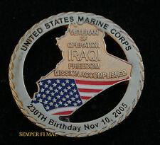 US MARINES IRAQ VICTORY 11-10-05 CHALLENGE COIN MISSION ACCOMPLISHED PIN UP OF