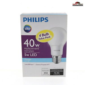 Philips 461160 40W Equivalent Daylight A19 LED Light Bulb 4 Count ~ New