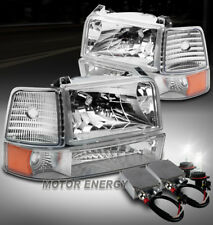 92-96 BRONCO F150 F250 F350 CHROME CRYSTAL HEADLIGHT+BUMPER+CORNER+50W 6000K HID