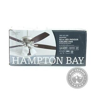 """OPEN BOX Hampton Bay 51750 52"""" LED Ceiling Fan with Light Kit in Brushed Nickel"""
