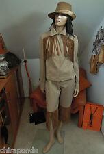 D&g DOLCE & GABBANA pantaloni vestito Tg 38 BEIGE IN PELLE COUNTRY frange western Style
