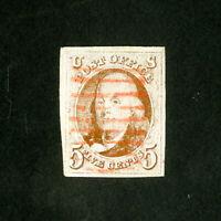 US Stamps # 1 Jumbo red grid cancel w/ 4 huge margins a lovely 5¢ 1847