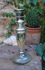 -antique Large Bougeoir en verre soufflé Mouluré Eglomisé XIX ème siècle 26 cm