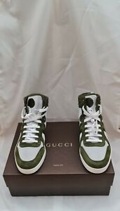 Gucci  ' Thunder Stretch' Nylon & Suede High-Top Sneaker - Olive  Size 11.5 New