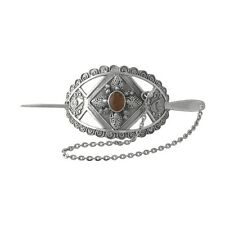 Wholesale /Gift Sterling 925 Silver Hair Barrette / Clip /Hairpiece w. Amber